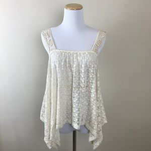 Urban Outfitters Embroidered Lace Textured Tank